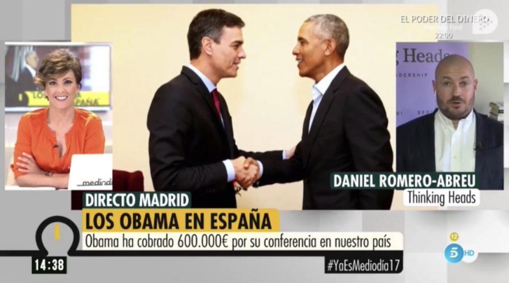 """Daniel Romero-Abreu, de Thinking Head: """"La visita como conferenciante de Obama a España habrá costado un millón de dolares»"""
